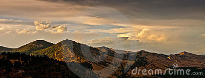 Boulder Colorado Mountain Range Sunset Panorama