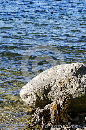 A boulder at the edge of Hancza lake