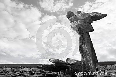 Boulders standing upright in rocky burren