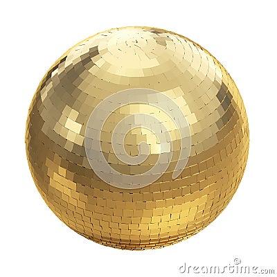 Boule d or de disco sur le blanc