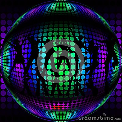 boule de disco avec des danseurs de silhouette photos libres de droits image 35023898. Black Bedroom Furniture Sets. Home Design Ideas