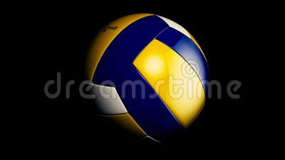 Boule de volleyball Bille bleu-foncé et jaune de volleyball Volleyball en cuir illustration libre de droits