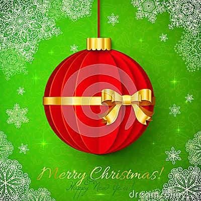 Boule rouge de no l d 39 origami avec le ruban d 39 or photo libre de droits image 34322335 - Origami boule de noel ...