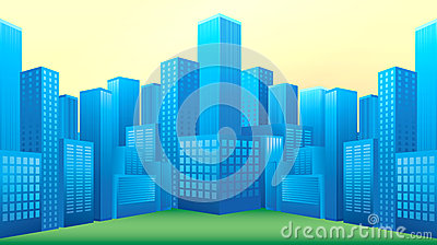 Boulevard with blue building vector format