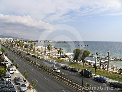A boulevard next to the sea in Athens, Editorial Photo