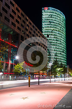 Boulevard stars Postadmer Platz to night lighting Editorial Stock Image