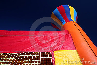 Bounce house with dark sky