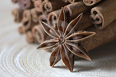 Bounty cinnamon and Star anise on a tray