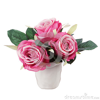 Bouquet from artificial red roses isolated on white background.