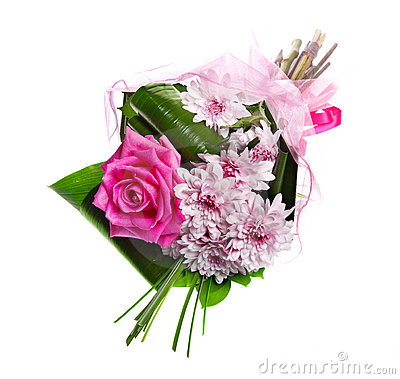 Bouquet of blossom pink roses and chrysanthemums