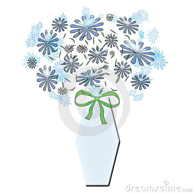 Bouquet in blue vase with bow