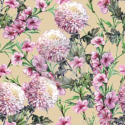Free Bouquet Chrysanthemum With Peach Flowers Of Watercolor. Floral Seamless Pattern On A Ginger Root Background. Stock Photo - 113171820