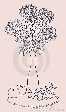Bouquet of chrysanthemums in high vase