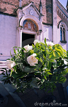 Bouquet and church