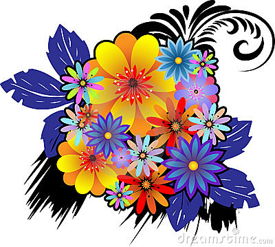 Bouquet of colorful ornamental flowers