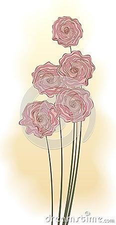 Bouquet décoratif des fleurs roses