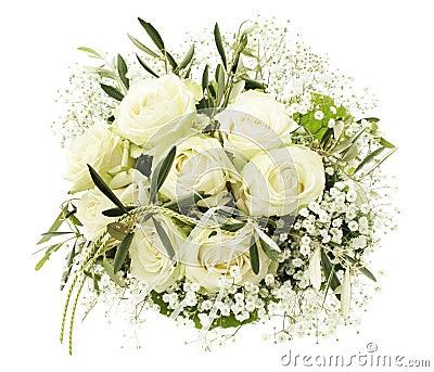 bouquet de mariage des roses blanches images libres de. Black Bedroom Furniture Sets. Home Design Ideas