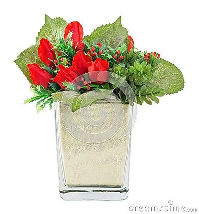 bouquet de rose et de houx de rouge dans le vase en verre image libre de droits image 31909676. Black Bedroom Furniture Sets. Home Design Ideas