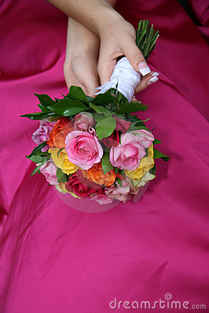 Bouquet on dress