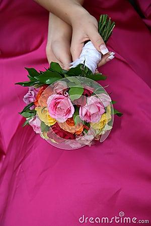 Bouquet on dress