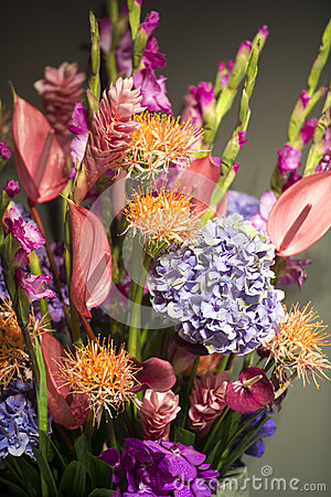 Bouquet with exotic flowers