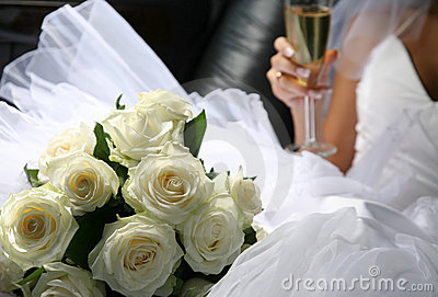 Bouquet of flowers and champagne