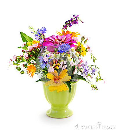Bouquet Of Flowers In The Green Vase Royalty Free Stock Image - Image: 28534406