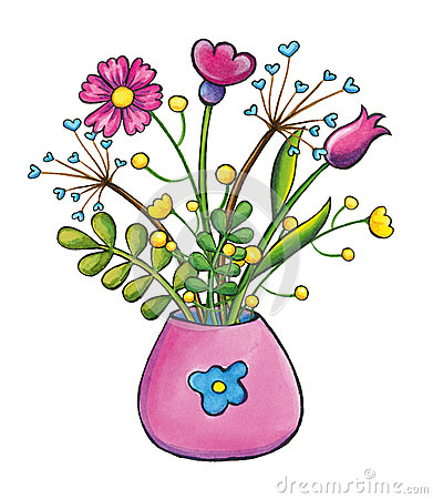 Bouquet Of Flowers Hand Drawn Clip Art Illustration Stock ...