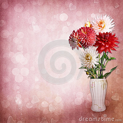 Bouquet of flowers on vintage background