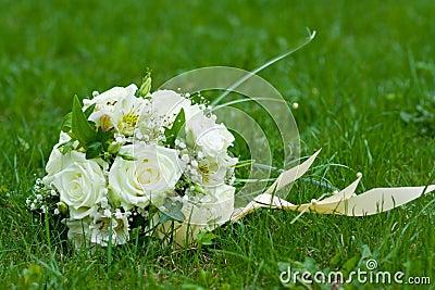 Bouquet on green grass