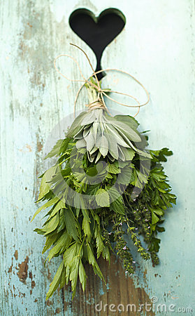 Bouquet of herbs and a heart