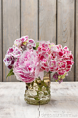 Bouquet of hortensia (Hydrangea macrophylla) and peony flowers