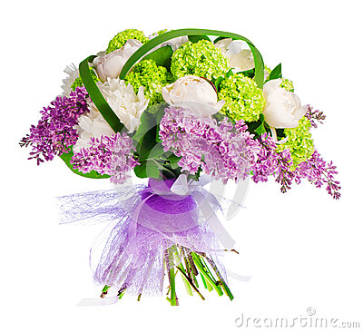 Bouquet of lilacs, roses and irises