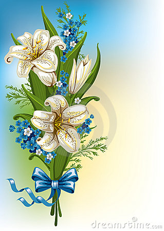 Bouquet with lilies and forget-me