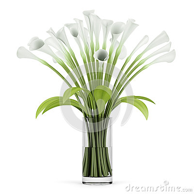 Bouquet of lilies in glass vase  on white