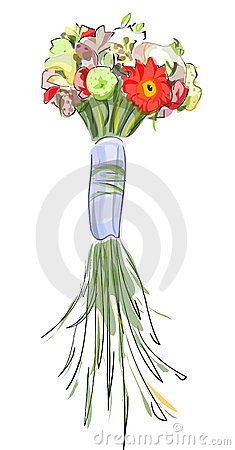 Bouquet with a long stems.