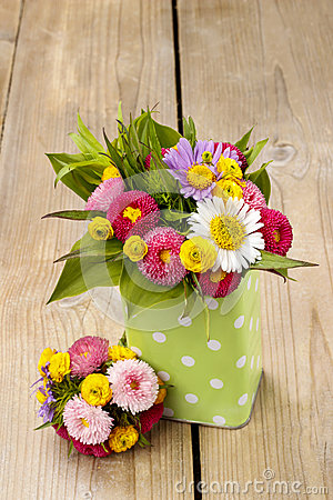 Free Bouquet Of Colorful Wild Flowers In Green Dotted Can Stock Photo - 41106390