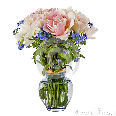 Free Bouquet Of Flowers In A Vase, Tulips And Forget-me-not, Isolated Royalty Free Stock Photography - 53578437