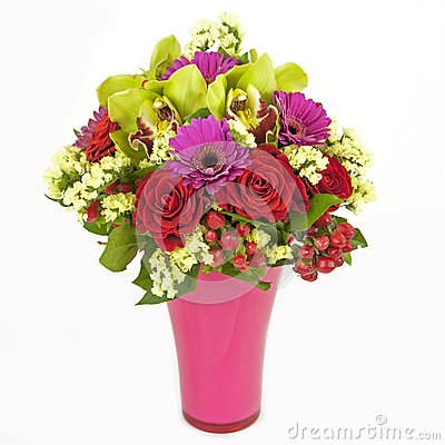 Free Bouquet Of Orchids, Roses And Gerberas In Vase Isolated On White Royalty Free Stock Photo - 29326335