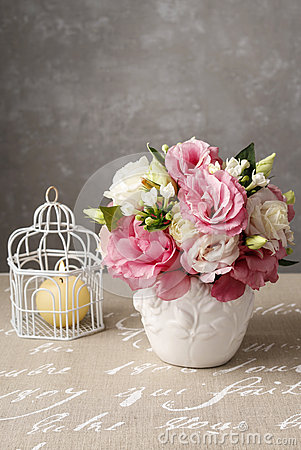 Free Bouquet Of Pink Eustoma Flowers And Scented Candle Royalty Free Stock Image - 57451866