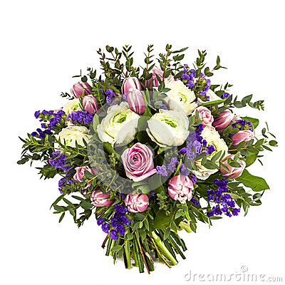 Free Bouquet Of Pink, White And Violet Flowers Isolated On White Royalty Free Stock Image - 29326296