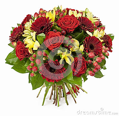Free Bouquet Of Red Roses  And Gerberas Isolated On White Royalty Free Stock Photo - 29326255