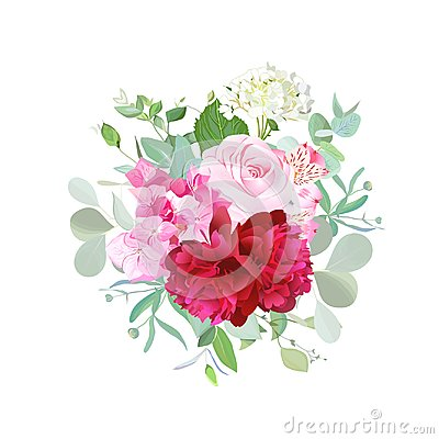 Free Bouquet Of Rose, Burgundy Red Peony, Pink And White Hydrangea Stock Photos - 101325833