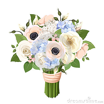 Free Bouquet Of Roses, Lisianthus, Anemones And Hydrangea Flowers. Vector Illustration. Stock Photo - 50828050