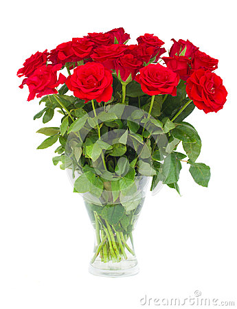 Free Bouquet  Of Scarlet Roses In Vase Royalty Free Stock Images - 33362349
