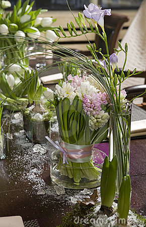 Free Bouquet Of Tulip And Hyacinth In Vase Of Glass. Stock Image - 8619821