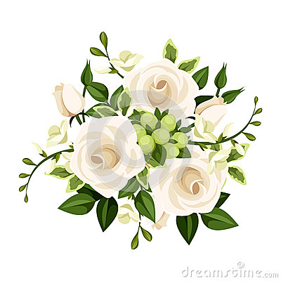 Free Bouquet Of White Roses And Freesia Flowers. Vector Illustration. Royalty Free Stock Photo - 43146475