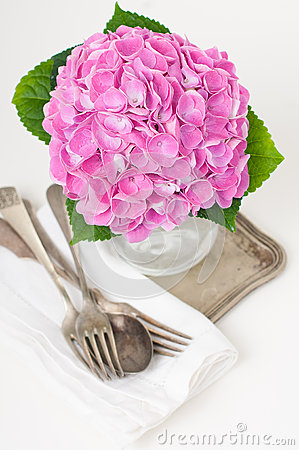 Pink hydrangeas and vintage cutlery