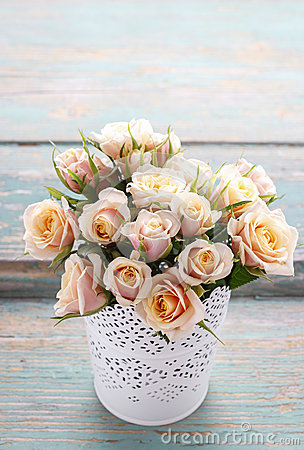 Bouquet of pink pastel roses