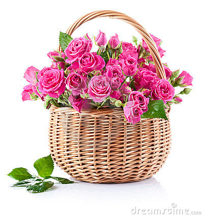 Bouquet of pink roses in basket